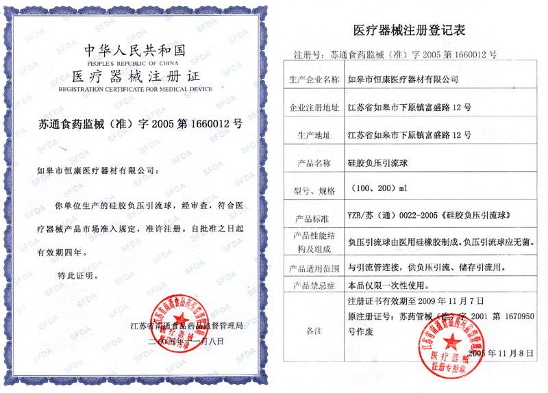 China Jiangsu Rugao Hengkang Medical Appliance Coltd Certificates